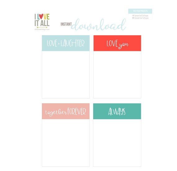 Love and Laugher, Love You, Together Forever, Always, Pocket Cards, Digital Journaling Cards, Planner Supplies, Pocket Scrapbooking, Beach