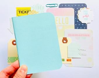 Pocket Sized Notebook Journal, Sea Green Journaling Kit, Passport TN, Cute Notebook Kit, Travelers Notebook Beginners Kit, Journal Notebook