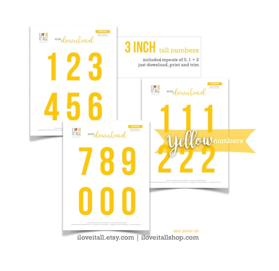 Yellow Numbers Printable, Cut Apart Number Die Cuts, Cut Out Date Ephemera, Colored Numbers, 3 Inch Numbers, Date Number Instant Download