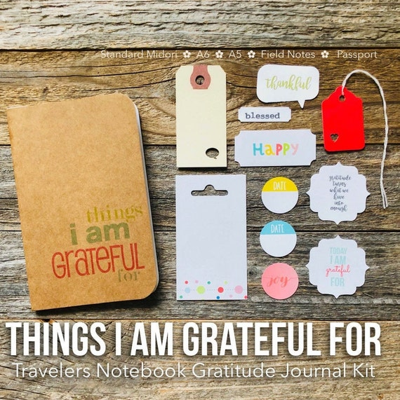 Gratitude Journal, Thankful Journal, I Am Grateful, Things, Blank Notebook, Thankfulness Jotter, Field Notes, Travelers Notebook, Today I Am