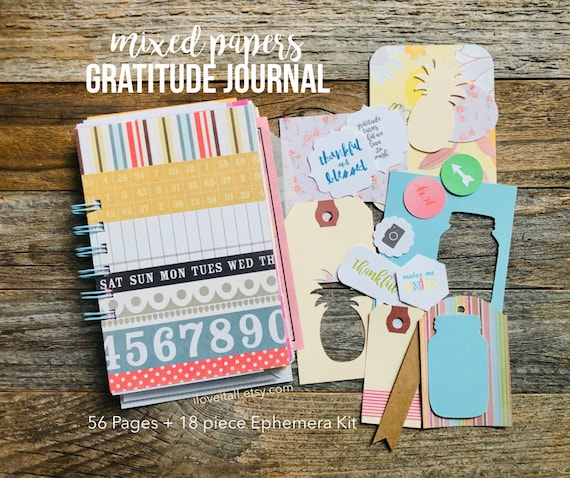 Gratitude Journal, Reflection Journal, Junk Journal, Mixed Paper Journal, Thankfulness, I Am Grateful For, Gratitude Notebook, Journal Books