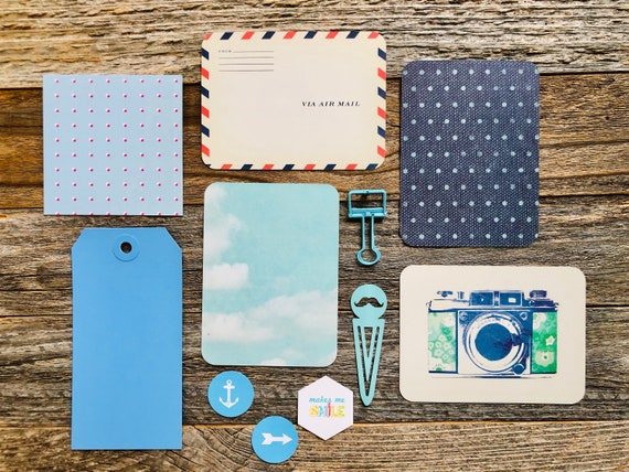 Blue Skies Travel Collection, Camera Card, Air Mail, Mustache Clip, Blue Ephemera Kit, Blue Bull Dog Clip, Polka Dots, Junk Journal Supplies