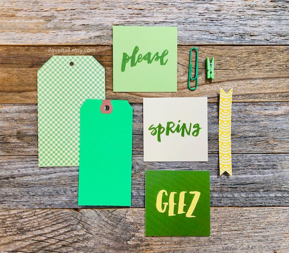 Spring Please, Green Ephemera, Journal Cards, Please, Spring, Geez, Shipping Tag, Green, Gingham, Paper Clip, Embellishments, Craft Supplies