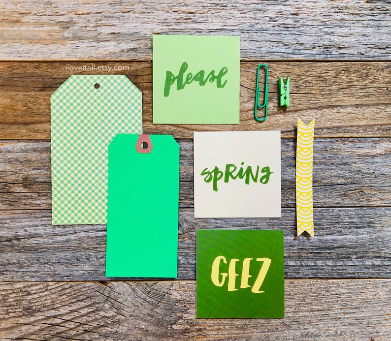 Spring Please St Patricks Day Green Ephemera Journal Cards image 0