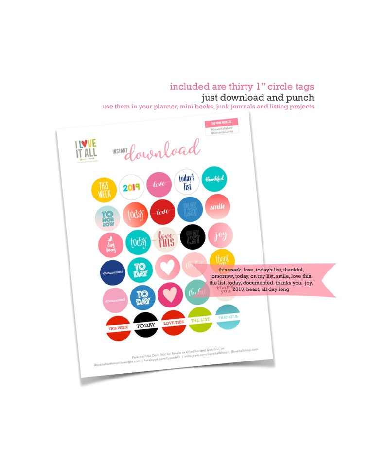 Printable 1 Inch Circles Planner Supplies Journaling image 0