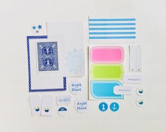 Shades of Blue, Ephemera Crafting Kit, Pastel Sticker Sheet, Navy Journal Ephemera, Junk Journaling Supply, Thankful and Blessed, Love This