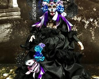 Dia Los Muertos Miniature, Muertos Doll, Hand Made Miniature, Marie Elaina Muertos Doll