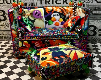 Halloween Miniature, Dollhouse Furniture, Hand Made Miniature, The Trick or Treat Settee and Ottoman