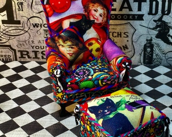 Halloween Miniature, Hand Made Miniature, Dollhouse Furniture, Trick or Treat Chair and Ottoman