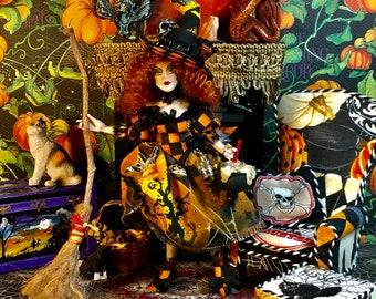 Halloween Miniature, Witch Doll Miniature, Hand Made Miniature Doll, Dollhouse Doll, Good Witch Jackie Pumpkinflower