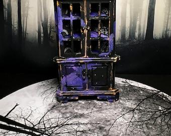 Miniature Furniture, Dollhouse Furniture, OOAK Miniature, Halloween Miniature, Moon and Stars Corner Cabinet