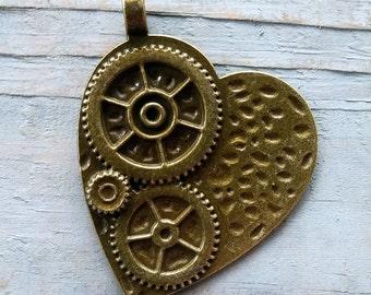 "Heart Pendant Rustic Heart Pendant Steampunk Heart with Gears Pendant Large Heart Pendant Mechanical Heart Antiqued Bronze 50mm/2"" Key 100pc"