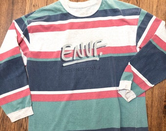 1f2b4b021f Vintage 90s E.N.U.F. Internationale Striped Long Sleeve Tee, 100% Cotton,  Size L