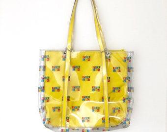 Vintage 90s Clear PVC Berlin Souvenir Tote Bag with Removable Pouch