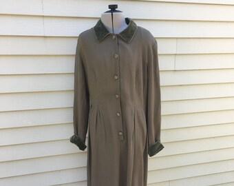 Vintage Button Down Olive Dress  / Long Sleeve 80s Dress