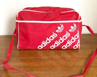 7c0ef92f18 Vintage 90s Red and White Adidas Spell Out Trefoil Logo Messenger Bag