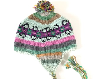 832dd4391fed5 Vintage 90s Hand Knit Multicolor Geometric Floral Striped Ski Hat with Pom  Pom and Ear Flaps