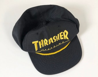 72a57f6e Vintage 90s Trasher Magazine Black and Yellow Embroidered Snapback Hat