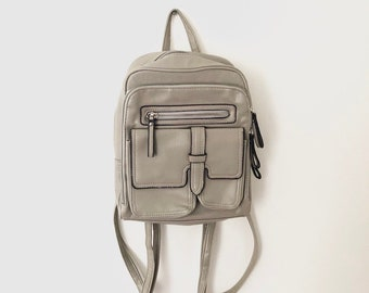 Vintage 90s Light Taupe Faux Leather Mini Backpack 8db765ad4a057