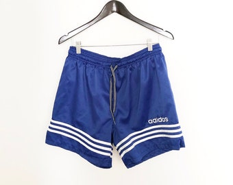 98a16a2879 Vintage 90s Blue and White Adidas Men's Nylon Sport Shorts, Size M
