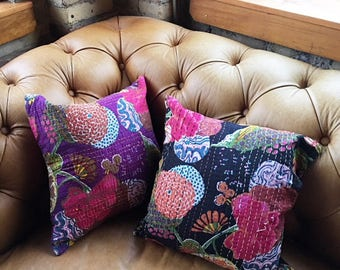 Vintage Handmade Floral Pillow Covers (Covers Only), Vintage Pillow Covers, Vintage Home Decor, Boho Decor, Vintage Throw Pillow Cases