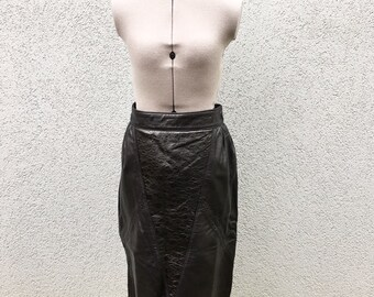 58c07ee523ce Vintage 1980s Black Leather Panel Skirt / High Waisted Slit Pencil Skirt /  Italian Leather, Size M