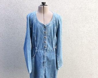9eddc10c7c5 Vintage 90s Denim Jumper Dress