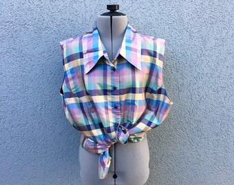 Vintage 100% Silk Plaid Pastel Sleeveless Blouse, 90s Women's Clothing, 90s Shirt, Vintage Button Down, 90s Grunge, Size XL