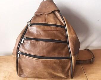 c5f8b82dff Vintage 90s Triple Zipper Brown Leather Mini Backpack