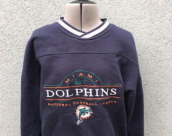Vintage 90s Miami Dolphins Sweatshirt, Football Sweatshirt, NFL Sweatshirt, 90s Men's Clothing, Men's Sweatshirt, Size L