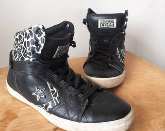 a1a57d12c14f Vintage Converse Cons All Star Black Leather Leopard Print High Top Sneakers