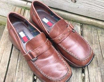 aa0a04956 Vintage 90s Tommy Hilfiger Brown Leather Platform Loafers