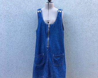 Vintage 90s Cherokee Blue Denim Jumper Dress, 90s Jean Dress, 90s Women's Clothing, 100% Cotton, Size M