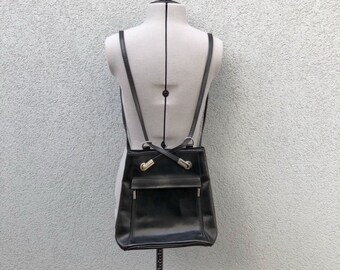 625a6ac576c0 Vintage 90s Black Leather Mini Backpack Purse