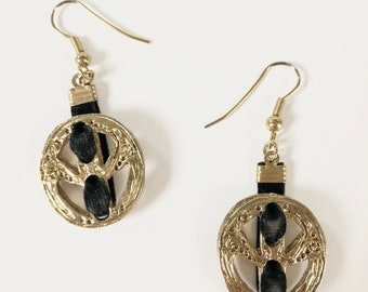 bad894b4a4f Vintage 90s Gold Tone and Black Suede Dangle Earrings