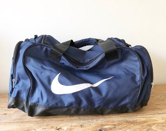 Vintage Navy and White Large Nike x Software AG Duffel Bag 1a08500902410