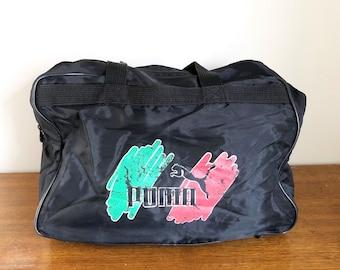 bdd98f46b0 Rare Vintage 90s Puma Large Thin Black Nylon Logo Duffel Bag