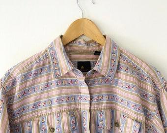 Vintage 80s liz Claiborne liz sport black white cotton geometric boxy square print blouse button up down unisex back vent 1980s vtg L bleach