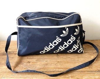 e4b6d9a90e Vintage 90s Adidas Navy and White Spell Out Trefoil Logo Messenger Bag