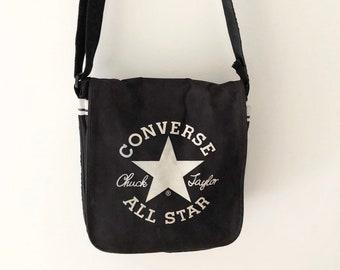 619422ca35 Rare Vintage 90s Converse All Star Chuck Taylor Black and White Logo  Messenger Bag