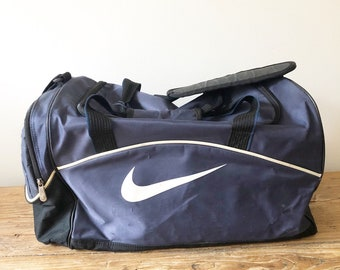 SALE, AS IS Vintage 90s Navy and White Nike Swoosh Logo Duffel Gym  Overnight Bag e536ceb8d9