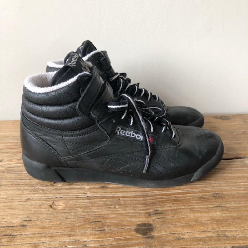 Vintage 80s Women s Reebok Freestyle Hi Top Black Leather  6a15252c7