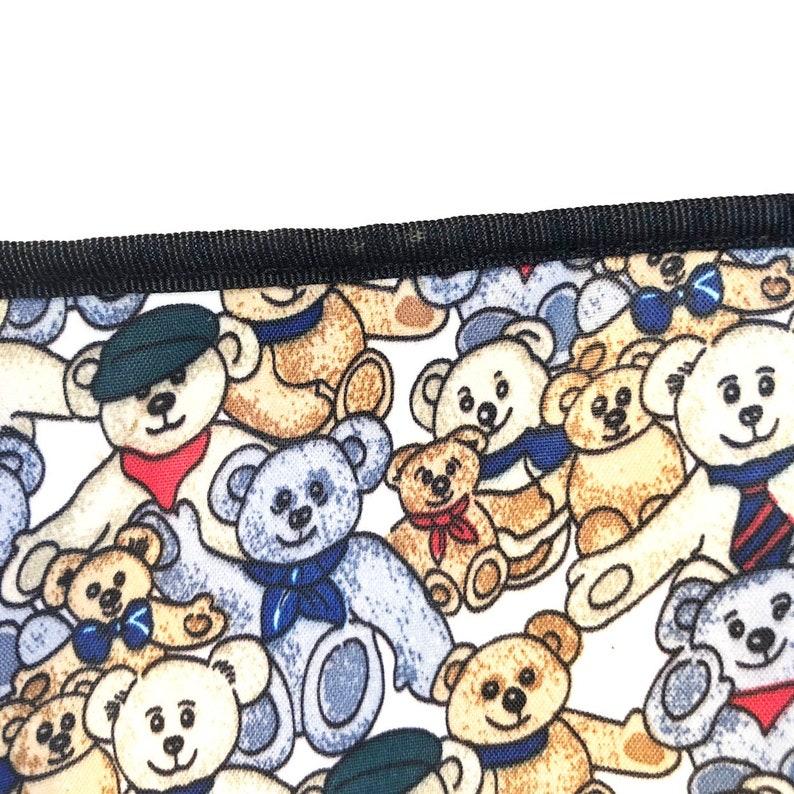 Vintage 90s Teddy Bear Print Nylon Zipper Pouch