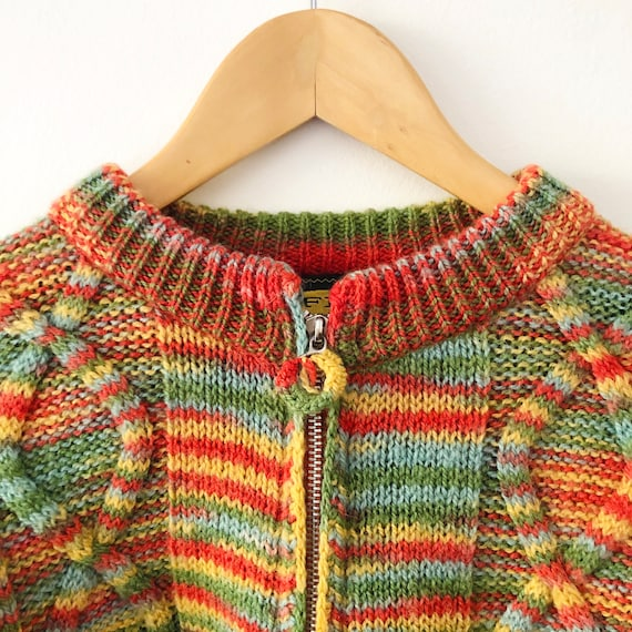 Vintage 90s Free People Cropped Rainbow Striped K… - image 3