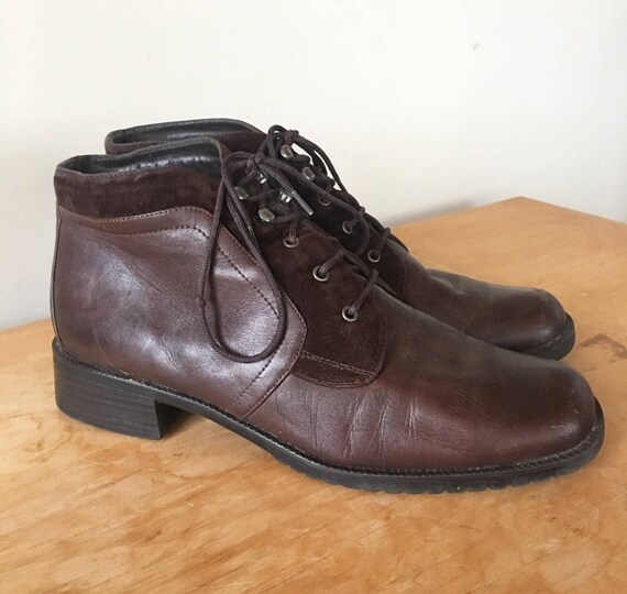 20cc027d6033c Vintage 90s Brown Leather Suede Lace Up Ankle Boots, Vintage Booties,  Women's Boots, Fall Boots, Fashion Boots, Size 10.5