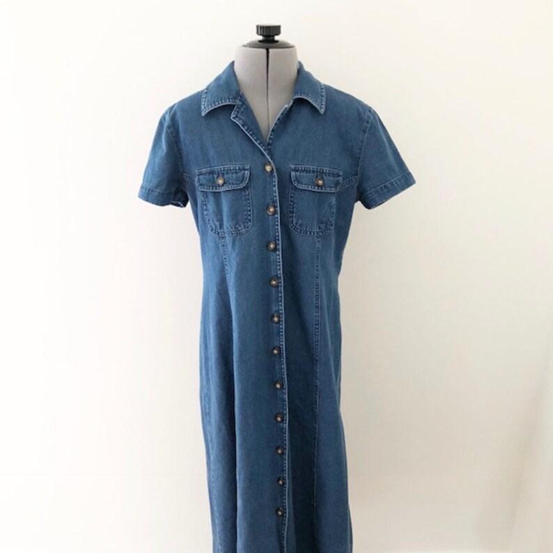 f72c875c9c8 Vintage 90s Talbots Petites Short Sleeve Denim Maxi Dress 90s