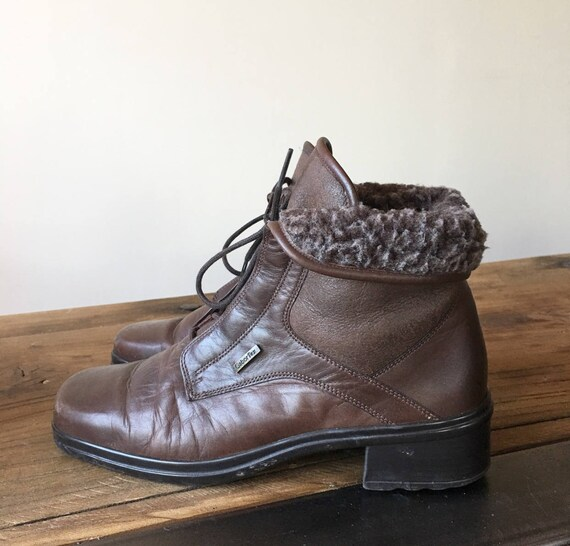 select for official pre order presenting Vintage 90s Brown Leather Fleece Lined Ankle Boots, Lace Up Boots, Women's  Boots, Winter Boots, Size 6.5
