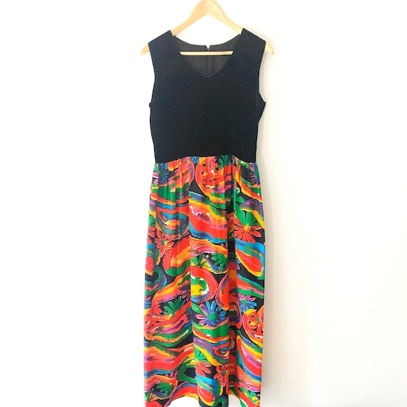 Vintage 70s Velvet and Floral Maxi Dress, 70s Wome