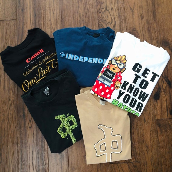 Vintage Y2K Lot of 5 Graphic Tees, Sizes S-XL