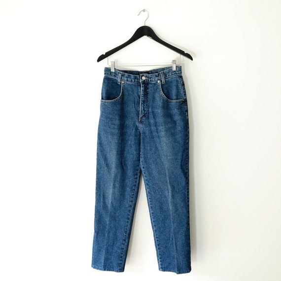 Vintage High Waisted Straight Leg Blue Mom Jeans,